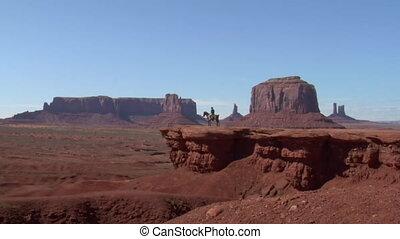 cheval, cow-boy, utah, zoom, long, vallée monument