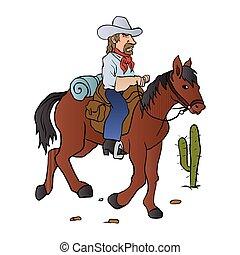 cheval, cow-boy