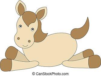 cheval, dessin animé, attachez art, mignon