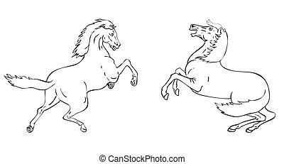 cheval, dessin ligne