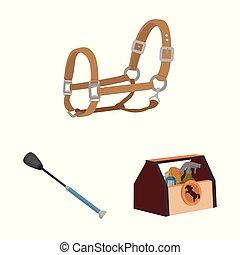 cheval, ensemble, équestre, cheval, vecteur, conception, icon., stockage, illustration.
