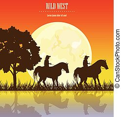 cheval, illustration., cow-boy, ouest, hommes, sauvage, vecteur, coucher soleil, vendange, cartes, équitation