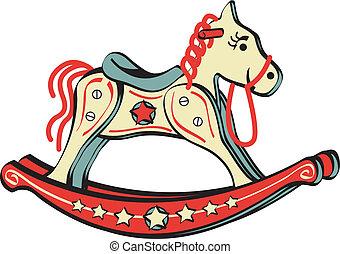cheval, jouet, art, agrafe, équitation, balancer