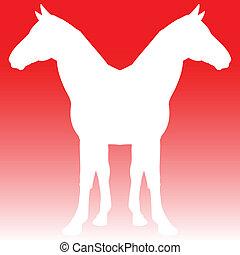 cheval, jumeaux, illustration