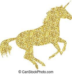 cheval, mythique, or, licorne