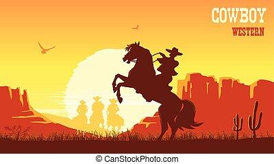 cheval, prairie, cow-boy, soleil, vecteur, équitation, paysage, sunset.