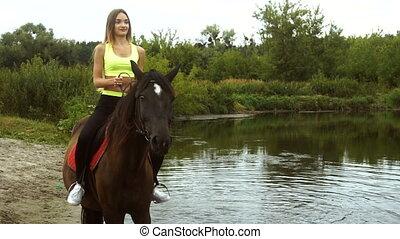 cheval, promenades, lac, girl, heureux