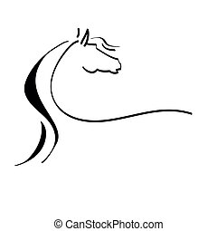 cheval stylisé, dessin
