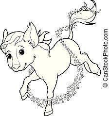 cheval, tourné, souris