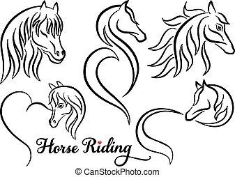 cheval, vecteur, ensemble, équitation