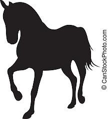 cheval, vecteur, silhouette