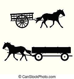 cheval, vecteur, silhouette, voiture