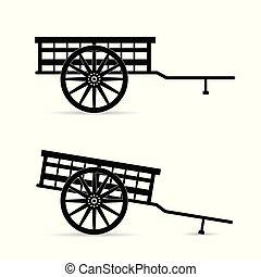 cheval, vecteur, voiture, illustration