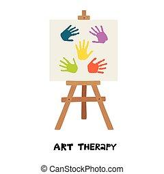 chevalet, therapy., handprints., enfants, art, peint, toile