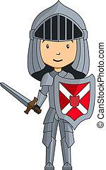 chevalier, caractère, dessin animé, épée
