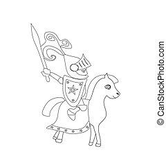 chevalier, cheval, épée, équitation