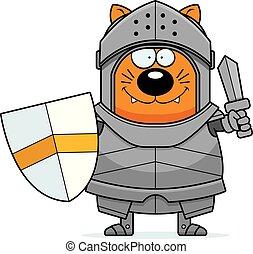 chevalier, dessin animé, épée, chat