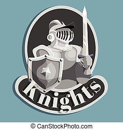 chevalier, emblème, métal