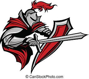 chevalier, guerrier, poignarder, mascotte
