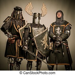 chevaliers, armure, moyen-âge, compagnie