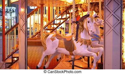 chevaux, carrousel, soir, hiver, francais