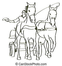 chevaux, dessiné, main