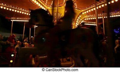 chevaux, gosses, manège, cavalcade, amusement, carrousel, galoper