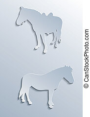 chevaux, silhouettes, deux