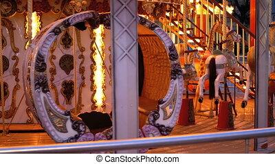 chevaux, soir, hiver, francais, carrousel, tourne
