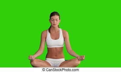 chevelure, sombre, femme, yoga
