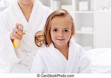 cheveux, après, soin, bain