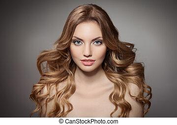 cheveux, beauté, portrait., bouclé, long