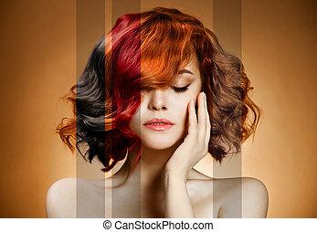 cheveux, beauté, portrait., coloration, concept