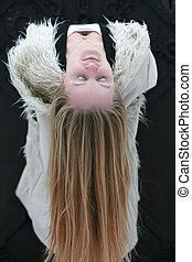 cheveux, blonds, femme, jeune, long