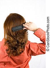 cheveux brossage, femme, elle