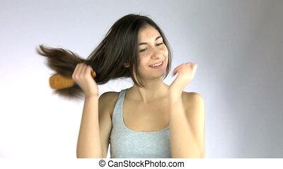 cheveux brossage, girl, elle, long