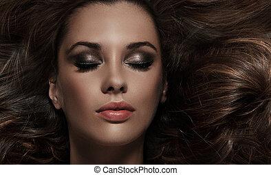cheveux, brunette, beauté, long
