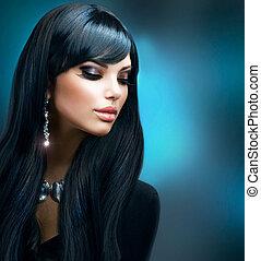 cheveux bruns, girl., maquillage, vacances, sain, long