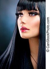 cheveux bruns, girl., noir, sain, long, beau