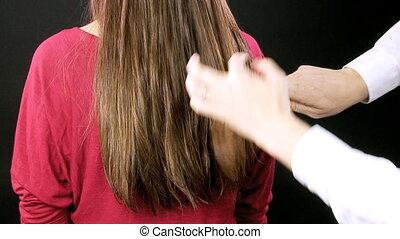 cheveux, coiffeur, peigner, mouillé