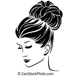 cheveux, coiffure, mode, brioche, femmes