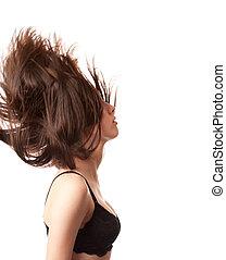 cheveux, dame, jeune, elle, renverser