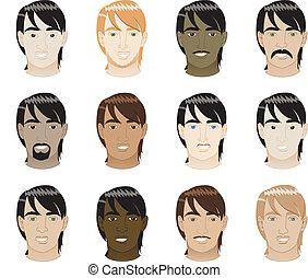 cheveux, directement, faces hommes