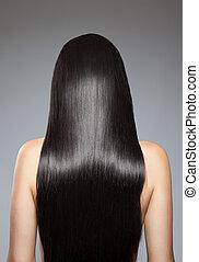 cheveux, directement, long