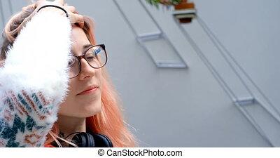 cheveux, elle, cadre femelle, 4k, jouer