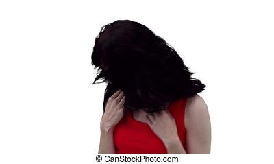 cheveux, elle, danse, quoique, caresser, femme