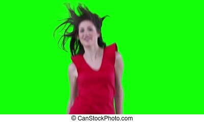 cheveux, elle, elle, sauter, sentiment, femme