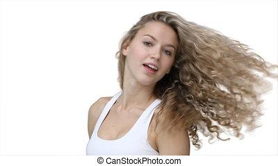cheveux, elle, flicks, femme, sourires