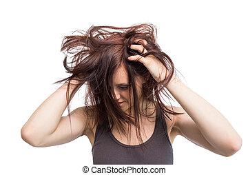 cheveux, elle, joli, en mouvement, brunette, jeune