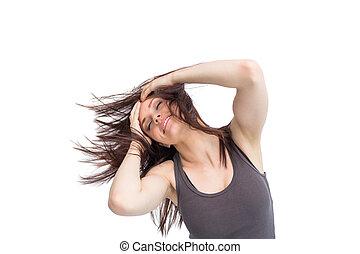 cheveux, elle, joli, lancer, brunette, jeune
